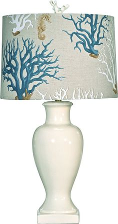 Superbe Bradburn Home Eliza White Ceramic Table Lamp With Coral Design Shade   CALL  TO CONFIRM AVAILABILITY