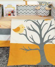 Another great find on #zulily! White & Mustard Nightie Night Owl Six-Piece Crib Set #zulilyfinds