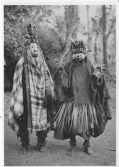 Ibo Masquerades    Isuama Ibo. Isu tribe. 'Okorosie' masquerade. Masks called 'Nwanyioma' and 'Akatakpuru'  photo taken by Dr. G.I.Jones 1931