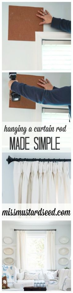 Hanging a curtain rod made simple miss mustard seed rods decorative putting up diy Miss Mustard Seed, Hanging Curtains, Burlap Curtains, How To Hang Curtains, Swag Curtains, Farmhouse Curtains, Green Curtains, Blackout Curtains, Diy Papier