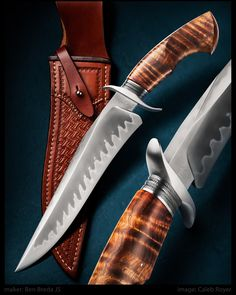 "maker: Ben Breda JS Blade: W2 Blade length: 9 3/8"" Overall: 14 7/8"" Handle: Hawaiian Koa Guard: Stainless Collar: File worked Damascus Sheath by maker #calebroyerphotography #knife #knifemaking #knives #customknives #handmadeknives #knifecommunity #handmade #knifeart #knifepics #imagecalebroyer #hamon #BenBreda #damascussteel #damascus #leather #sheath #wood #koa"