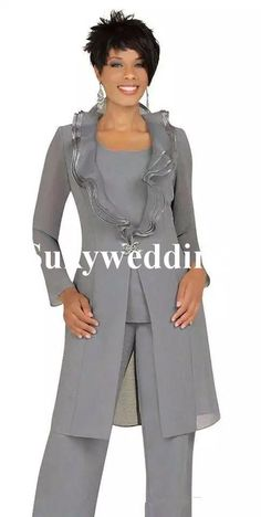 Dressing Mother Bride Pant Suits Australia - 2018 Cheap Gray Chiffon Mother of the Bride Pant Suits with Long Jacket Custom Made Women Wedding Guest Dress Evening Outfits Plus Size guest outfit australia 错误 Mother Of The Bride Trouser Suits, Mother Of Bride Outfits, Mother Of Groom Dresses, Mothers Dresses, Mother Bride, Evening Outfits, Evening Dresses, Brides Mom Dress, Bride Dresses