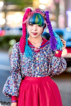 8e917954087 Harajuku Girl s Doll-inspired DIY Street Style w  Colorful Yarn Hair