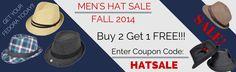 Buy 2 Get 1 Free  Coupon Code: HATSALE  Men's 2014 Fedora Sale! Men's Fall 2014 Fedora Sale! Buy 2 Get 1 Free! Coupon Code: HATSALE #MensFashion #MensHats #Fedora #HatSale #MensAccessories #SundaysVeryBest