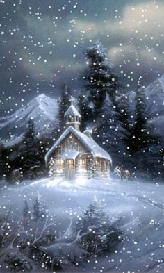 Download Animated 480x800 «church at snowfall...» Cell Phone Wallpaper. Category: Nature