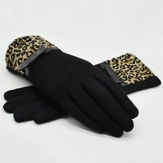 Pair of Chic Small Bow Embellished Leopard Pattern Brim Women's Winter Gloves #shoes, #jewelry, #women, #men, #hats, #watches, #belts