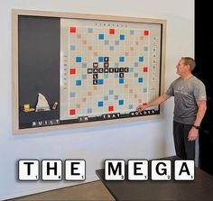 Our MEGA Wall Scrabble Game with Magnetic Tiles 90x | Etsy Letter B, Black Letter, Scrabble Board, Black Tiles, Thing 1, White Chalk, White Letters, Lead Time, Storage Containers