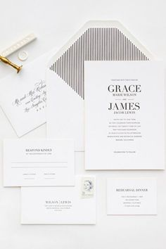 41 Edgy Modern Wedding Ideas You'll Love: simple black and white invitations
