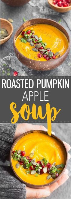 A super creamy, healthy, and delicious Roasted Pumpkin Apple Soup. This easy recipe is naturally gluten-free, dairy-free, and vegan. via /easyasapplepie/ # Easy Recipes healthy Roasted Pumpkin Apple Soup Fall Recipes, Vegan Recipes, Cooking Recipes, Recipes Dinner, Pie Recipes, Apple Recipes Gluten Free, Potato Recipes, Vegan Food, Pasta Recipes