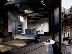 Cucina laccata in legno impiallacciato con isola VELVET PROFILE C by GD Arredamenti design GD Design Department