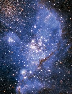 astronomicalwonders:  Star Birth in NGC 346 NGC 346 is the brightest star-forming region in the Small Magellanic Cloud - a Dwarf Galaxy near our Milky Way. Massive stars have dispersed the glowing gas within and around this star cluster to form this beautiful glowing nebula.Credit: NASA/ESA/Hubble