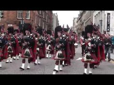 Scotland the Brave (pipes and drums)  1st  Battalion Scots Guards homecoming parade Glasgow 2013
