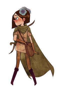 Penny Arcade - Daughters of the Eyrewood -- tunic and boots, green cloak, blue flowers (morning glories? Character Concept, Character Art, Concept Art, Love Illustration, Character Illustration, Timberwolf, Penny Arcade, Medieval, Character Design Inspiration