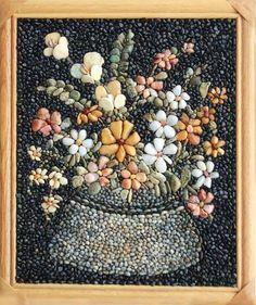 Valentina Sheitanova..amazing flower mosaic made with stones!