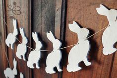 Distressed rabbit garland - white wooden bunnies banner vintage style finish spring Easter decor ornaments nursery