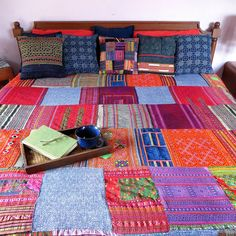 King Patchwork Duvet - Vintage Hmong Batik and Embroidery Duvet Cover