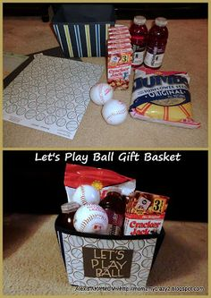 Let's Play Ball Gift Basket - Maybe add tickets to a ball game and foam fingers, peanuts, etc.