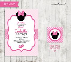 Minnie Mouse Invitation Printable Kids Party por CreativaDesignCo