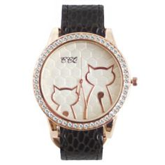 Description This sophisticated watch is a must-have for the elegant kitty lover. With an off-white, beehive patterned face, a yellow-gold hue, and a snakeskin p
