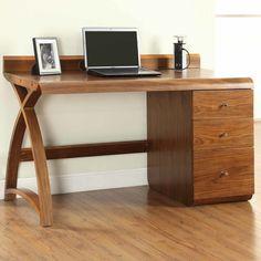 Jual Curve Walnut 3 Drawer Pedestal Desk Home Office Desks Uk Ireland