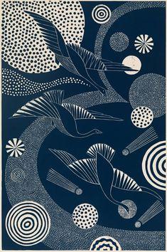 "For Sale on - ""Swooping and Swirling,"" Folk inspired Navy Linoleum Block Print of Birds Flying, Linocut by Lisa Houck. Japanese Patterns, Japanese Art, Linoleum Block Printing, Linoprint, Museum Of Fine Arts, Linocut Prints, Bird Art, Graphic, Art Inspo"
