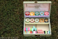 Use an old jewelry box as a washi-tape holder...from Daisy's blog, Henrietta and Clementine