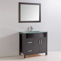 "Legion Furniture WA6636 36"" Solid Wood Sink Vanity with Integrated Sink, Countertop, Faucet, & Mirror"