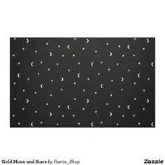 Gold Moon and Stars Fabric #night #black #gold #luxurious #moon #strary #stars #faerieshop #magic #mysterious #hipster #witchy #cool #halloween #occult #space #abstract #simple #magical #gothic #minimalism #vector #seamless #repeat #zazzle #sale #accessories #textile #sew #harry #potter