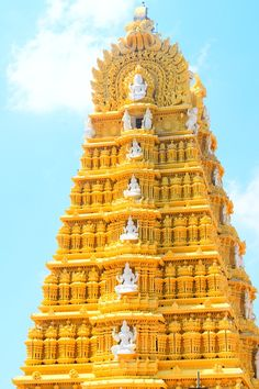 The Chamundeshwari Temple, located on the top of Chamundi Hills, Mysore, Karnataka, India. According to Hindu Mythology - The temple was named after Chamundeshwari or Durga, the fierce form of Shakti, a tutelary deity held in reverence for centuries by Mysore Maharajas. #boutindia #templetours #religioustours #travel #exploreindia #Mysore #Karnataka
