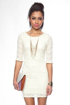 Make it Lace Forever Dress in Ivory $40 at www.tobi.com