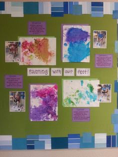 Preschool art display process art toddler art documentation evidence of learning sensory exploration gross motor skills fine motor skills creativity color recognition independence free choice autonomy. Infant Toddler Classroom, Toddler Teacher, Infant Room Daycare, Toddler Art, Daycare Rooms, Preschool Art Display, Preschool Classroom, Art Classroom, Classroom Activities