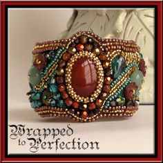 RESERVED FOR SORCHANICCONNEL - Layaway Payment 3 - Beaded Cuff Bracelet - Art Deco - Carnelian, Teal, Gold, Brown