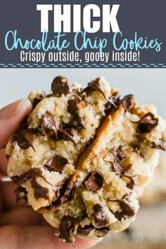 Home Remodel Thick Chocolate Chip Cookies! These cookies are nice and golden on the outside and soft and gooey on the Home Remodel Thick Chocolate Chip Cookies! These cookies are nice and golden on the outside and soft and gooey on the inside. Baking Recipes, Dessert Recipes, Baking Desserts, Dinner Recipes, Gateaux Vegan, Chocolate Cookie Recipes, Fluffy Chocolate Chip Cookies, Giant Cookies, Stuffed Cookies