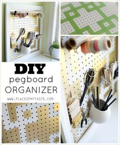 Geometric pegboard designs are the perfect household solution for hanging tools, kitchen utensils & craft supplies. Check out these 18 Hometalker projects now! Hang Pegboard, Pegboard Organization, Organization Ideas, Kitchen Organization, Storage Ideas, Build A Frame, Custom Shelving, Creation Art, Home Workshop