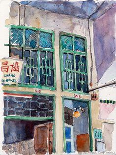 Paul Wang - Coffeeshop at Mackenzie Road, Singapore (Urban Sketchers)