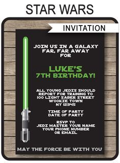INSTANT DOWNLOADS of Star Wars Party Invitations. Personalize the printable template easily at home and get your birthday party started right now!