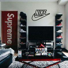 Bedroom Setup, Room Design Bedroom, Room Ideas Bedroom, Home Room Design, Shoe Room, Shoe Wall, Nike Logo, Sneaker Storage, Hypebeast Room