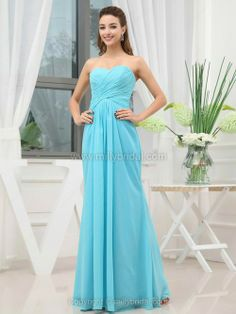 Sheath/Column Sweetheart Chiffon Floor-length Ruffles Prom Dresses