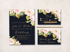 Floral wedding Invitation Set - Invitation, Thank you card, RSVP - Spring Summer Navy & Gold wedding Invitation Suite, Peonies Invitation  • wedding