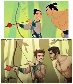 funny disney My art crossover Mulan digital art Stiles Teen Wolf au Derek Li Shang paint tool sai stiles stilinski derek hale Sterek spider999now