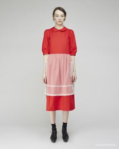 Comme des Garçons SHIRT / Embroidered Apron Shirtdress Maria La Rosa / Mid-Calf Silk Socks  Rachel Comey / Pendulum Clog Oxford