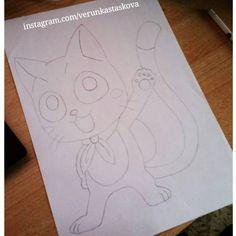 Paper drawing. Anime/manga: Fairy Tail [Happy] Fairy Tail Happy, Paper Drawing, Death Note, Tokyo Ghoul, My Arts, Manga, Drawings, Anime, Manga Anime