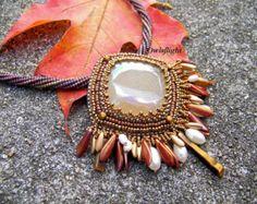 Large Druzy Quartz Beadwork Necklace