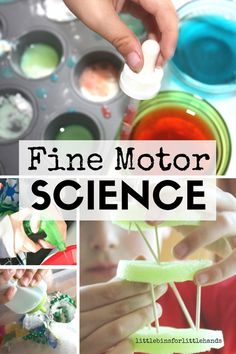 Fine motor skills and science activities fit perfectly together. Encourage different finger grasps with simple science experiments using eyedroppers, squirt bottles, squeeze bottles, tongs, tweezers, and other science and fine motor tools. Great for kids who are reluctant to write get fine motor practice too.