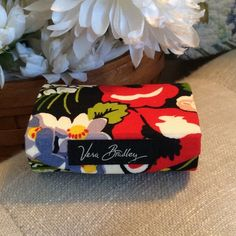 """Vera Bradley Poppy Fields Double Lipstick Case Very good condition.  Has mirror inside and fits 2 lipsticks.  Colors of red, green, yellow, white and purple.  3"""" wide by 2"""" depth.  Called Poppy Fields Double Kiss Lipstick Case with Mirror. Vera Bradley Accessories"""