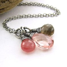 Peach Quartz Necklace Gemstone Pendant Smoky by JenniferCasady, $68.00