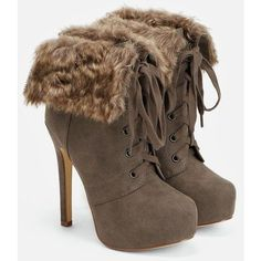 Justfab Booties Katharina ($40) ❤ liked on Polyvore featuring shoes, boots, ankle booties, brown, brown booties, platform boots, stiletto booties, lace up ankle booties and high heel stilettos #stilettoheelsboots