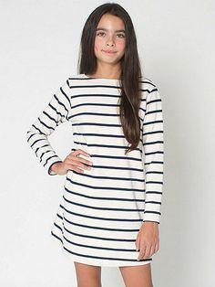 Youth Long Sleeve Sailor Stripe Dress   American Apparel - $30