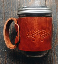Aviator leather travel mug home drinking amp barware loyal stricklin