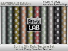 Seamless Spring Polka Dot Silk Fabric Collection Materials Edition with normal and specular maps  Artist Resources by www.fabriclab.org